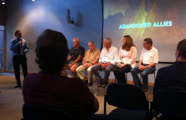 Discussion panel following the premiere of Abandoned Allies at IMAX on August 2012. Panel moderated by Bill Leslie, WRAL news anchor who narrated the film.