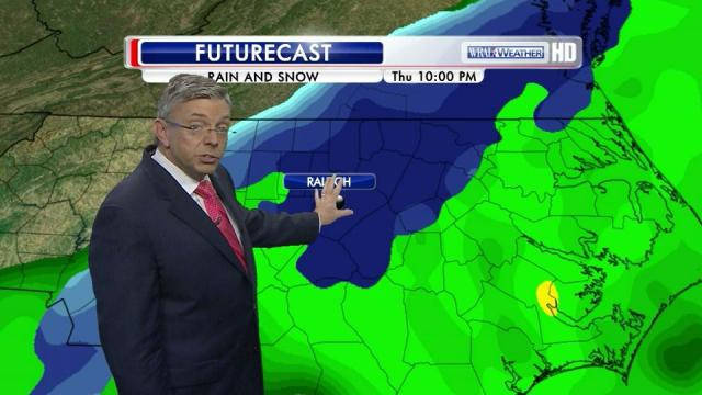 """From WRAL: By 10 p.m. Thursday, WRAL Chief Meteorologist Greg Fishel said, """"most of us will have turned over to snow here in the Triangle area. If you haven't to the south and east, you will as we head toward midnight and the wee hours of the morning."""""""