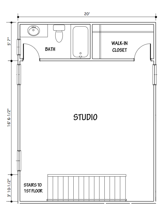Basic floor plan of the new studio