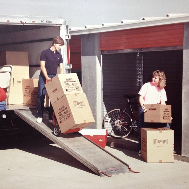 No, this isn't us moving. It's an old school pic from U-Haul. Look at those hair dos!