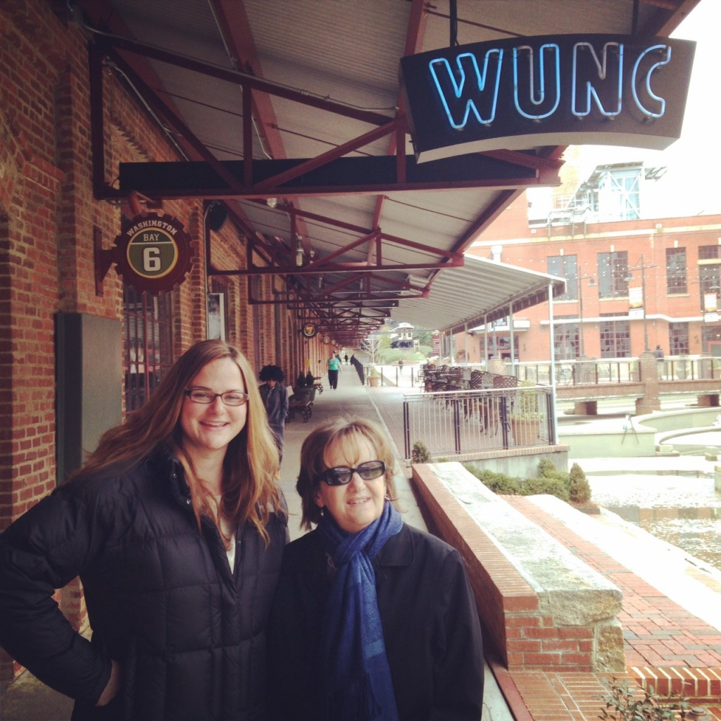 Vivian Bowman-Edwards (founder of Alice Fest) and me at WUNC in Durham, N.C.