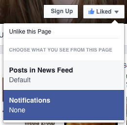 """Once you like the page, click on """"notifications"""" to make sure you see what is shared there."""