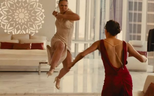 Ronda Rousey in Furious 7 fighting Michelle Rodriguez.